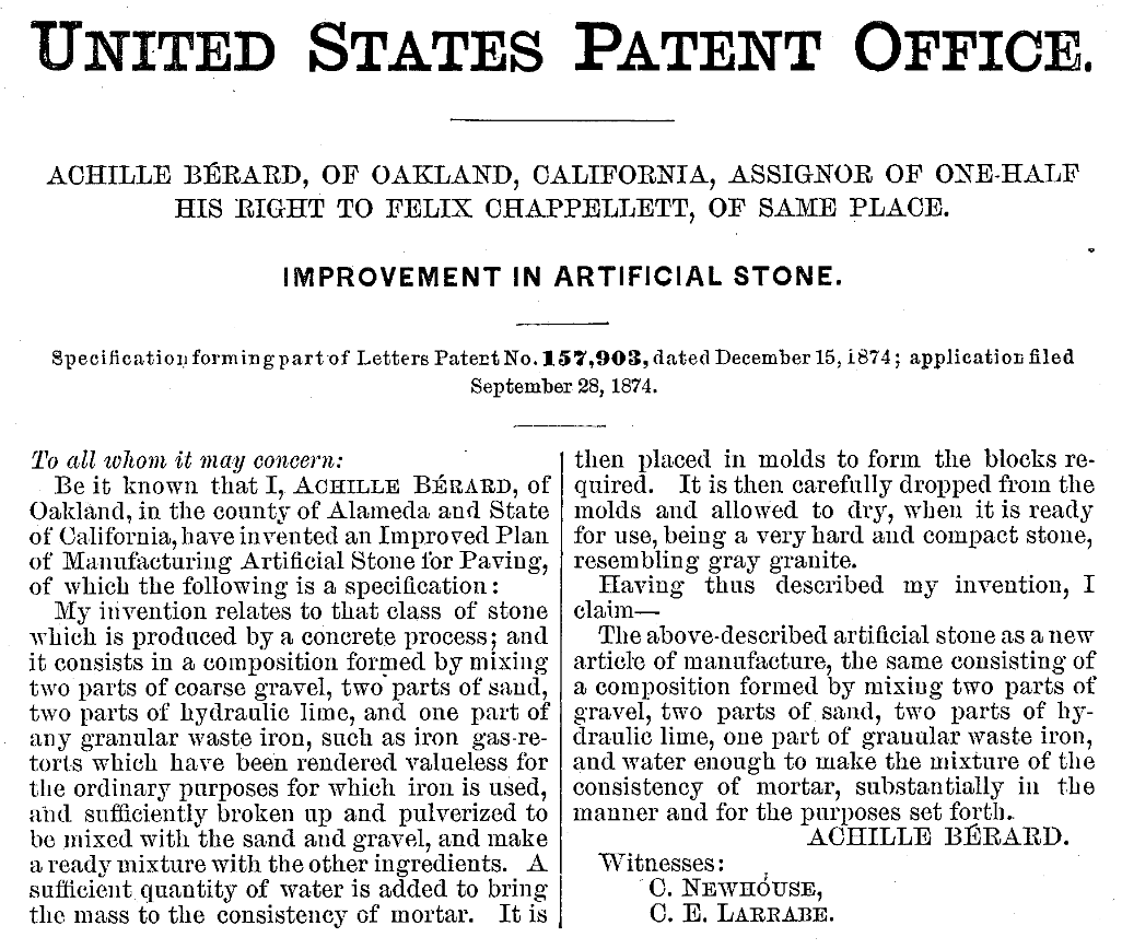 Patent of the first fibre reinforced concrete (FRC)